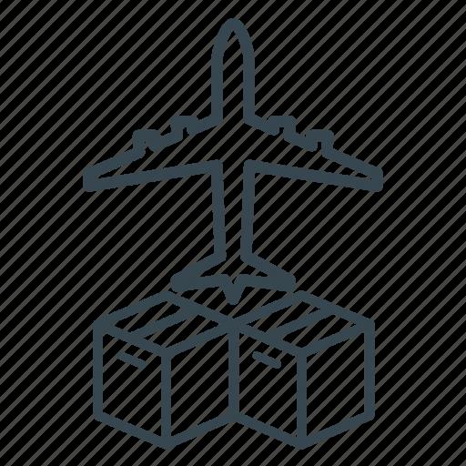 business, cargo, container, delivery, intermodal, logistics, plane icon