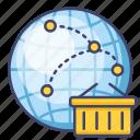 distribution, global, internet, network icon
