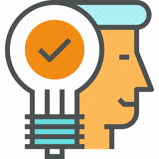 head, human, idea, lightbulb, person, solution, success, think icon