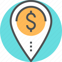 dollar, location, mapping, mark, money, pin, place icon