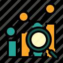 analysis, analytics, chart, google analytics, graph, loupe icon
