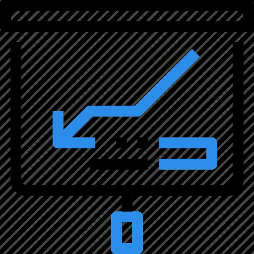 arrow, business, corporate, down, presentation, report icon