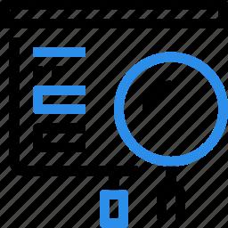 business, corporate, presentation, report, research, search, seo icon