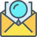 business, communication, email, letter, mail, search icon