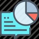 business, communication, data, report, speech bubble icon