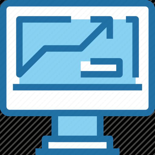 arrow, business, computer, graph, marketing, report, seo icon
