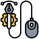creative, design, gear, mouse, pen icon