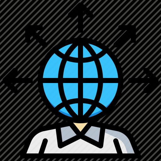 bisiness, earh, global, man, world icon