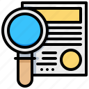 document, find, magnifier, paper, search icon