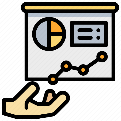 analysis, chart, graph, hand, pie, presentation icon