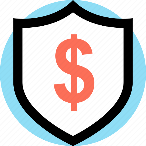 dollar, money, payment, shield icon