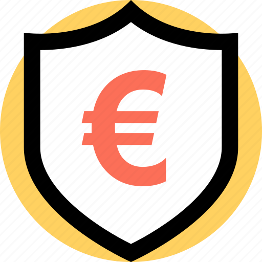 euro, payment, security, shield icon