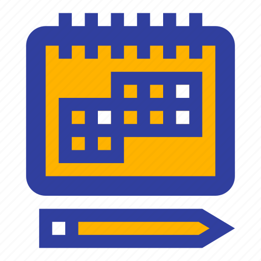 business, calendar, day, pencil, plan, schedule, year icon