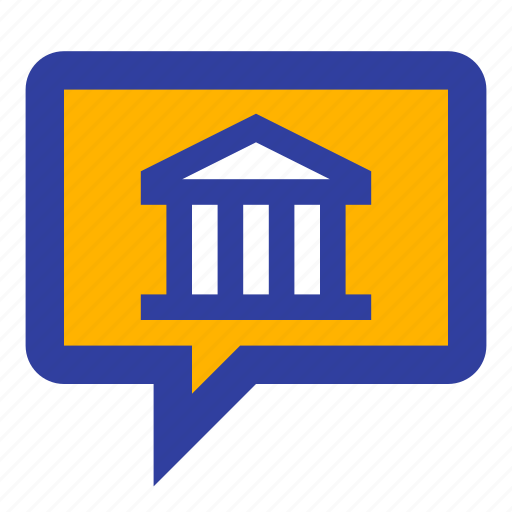 bank, business, chat, discussion, investment, message icon