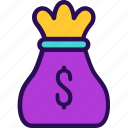 business, currency, dollar, finance, money, payment, sack of money icon