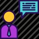 business, customer service, male, people, person, profile, sign icon
