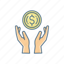 cash, expenditure, funds, hand, investment, money, spend icon
