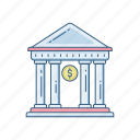 bank, building, estate, financial institution, real, treasury, work icon