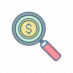 currency, dollar, finance, find, money, payment, search icon