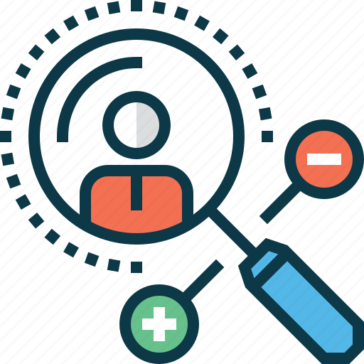 audience, hr, human, magnifier, search, target icon