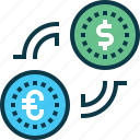 bank, coin, dollar, euro, exchange, transfer icon