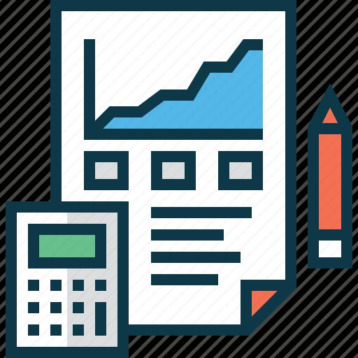 account, calculator, chart, finance, pencil, report icon