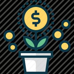 coin, develop, dollar, flower, grow, plant, startup icon