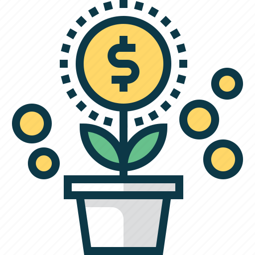 coin, develop, dollar, flower, grow, plant, startup icon
