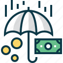 banknote, insurance, money, protection, safety, security, umbrella icon