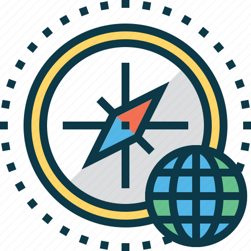 business, compass, globe, location, navigation icon