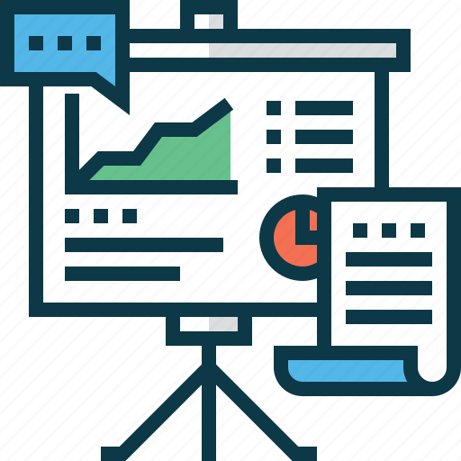 analytics, business, chart, document, presentation, talk icon