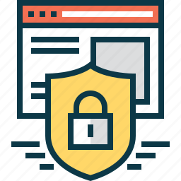 browser, lock, protection, security, shield, web, website icon