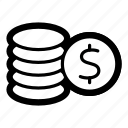 business, coins, currency, dollar, finance, money, usd icon