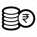 coin, coins, currency, finance, financial, money, rupee icon