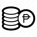coins, currency, finance, money, pesos icon