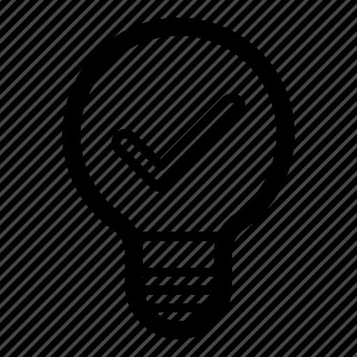 confirm, creative, good idea, idea, light bulb, success icon