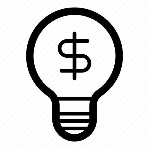 creative, good idea, idea, light bulb, money, profit, profitable icon