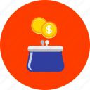 business, cash, currency, finance, handbag, money, purse icon