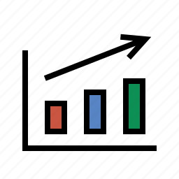 arrow, bar chart, growth, performance, report, sales icon
