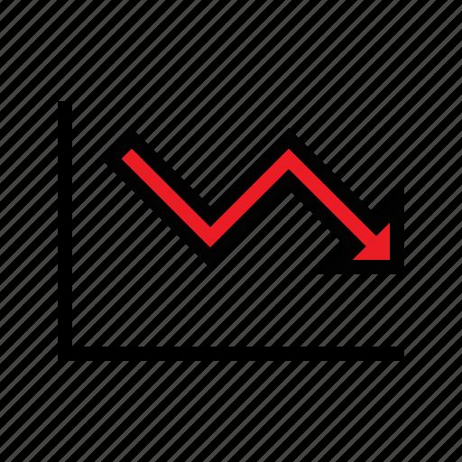 analytics, downward, financial loss, loss, performance, sales loss icon