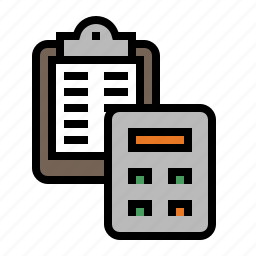 accounting, actuary, calculation, calculator, clipboard, statistics icon