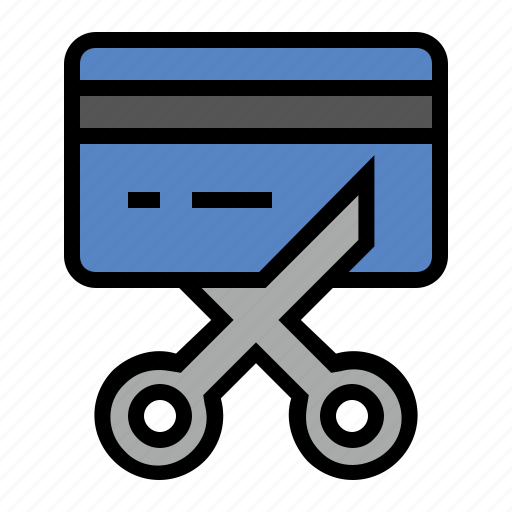 bankruptcy, credit card, debt, scissors icon