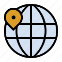 globe, international, location, map, marker, navigation icon