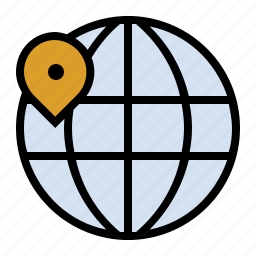 globe, international, location, map, marker, navigation icon