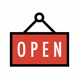 business, commerce, open sign, retail, store icon