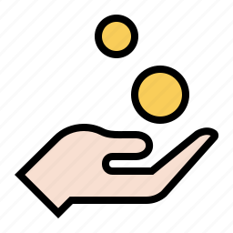 alms, beggar, change, charity, coins, gold, payment icon