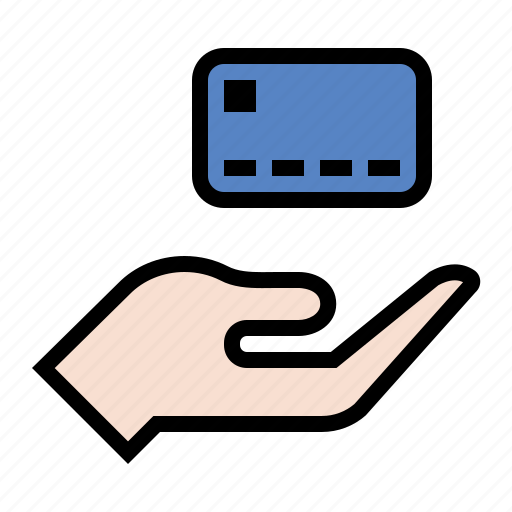 credit, credit offer, debit, hand, payment, visa icon