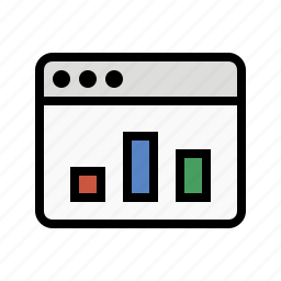 analytics, bar chart, browser, metrics, sales, statistics, web icon