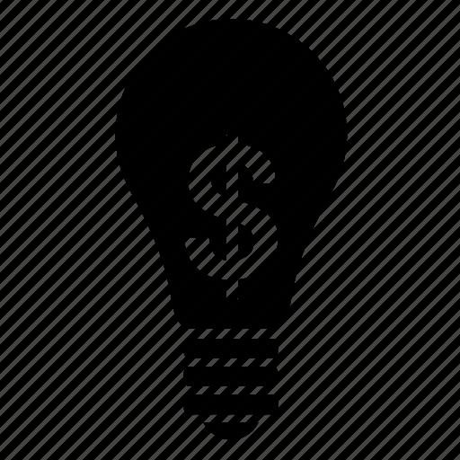business, dollar, finance, lamp, light bulb, lightbulb, money icon