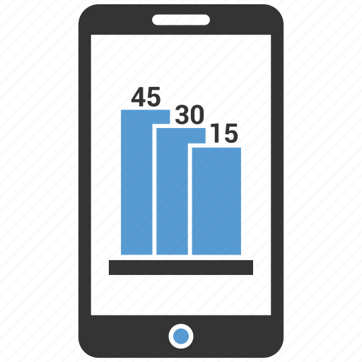 chart, data, diagram, mobile, online growth icon